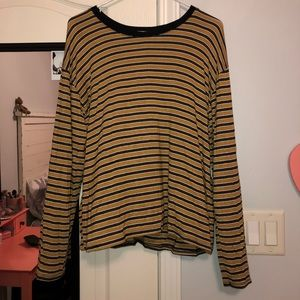 Forever 21 Yellow Striped Long Sleeve